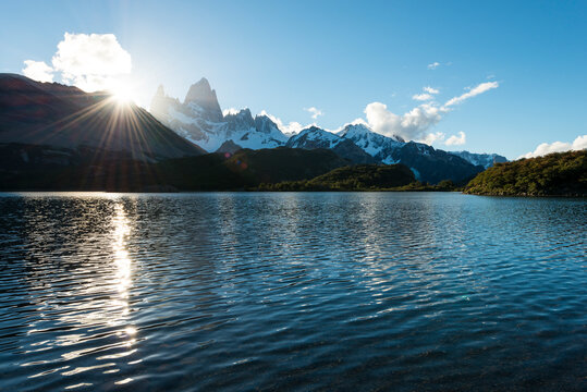 Fitz Roy Mountain Range and Laguna Capri at dusk, El Chalten,  Los Glaciares National Park,  Santa Cruz Province, Argentina