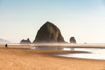 View of haystack rock and misty sea, Cannon Beach, Oregon, USA