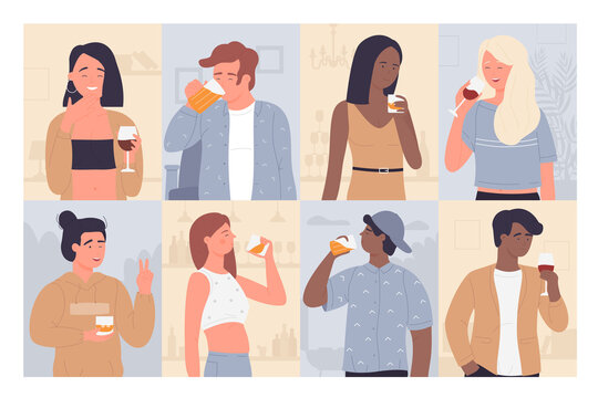 Drinking people vector illustration set. Cartoon flat adult man woman characters drink alcoholic beverage, young happy girl and guy standing with glass of wine, beer at party collection background