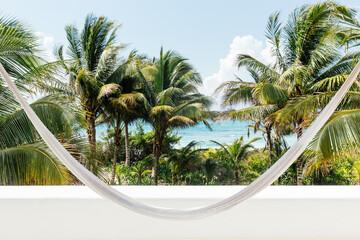 Hammock, palms trees and coast, Tulum, Riviera Maya, Mexico