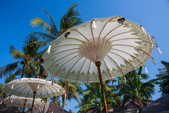 White beach umbrellas and palm trees, Gili Trawangan, Lombok, Indonesia