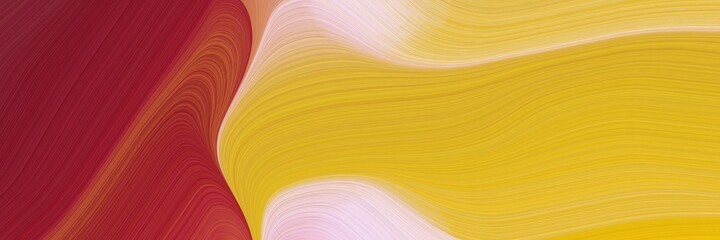 abstract flowing horizontal header with golden rod, baby pink and firebrick colors. fluid curved flowing waves and curves for poster or canvas
