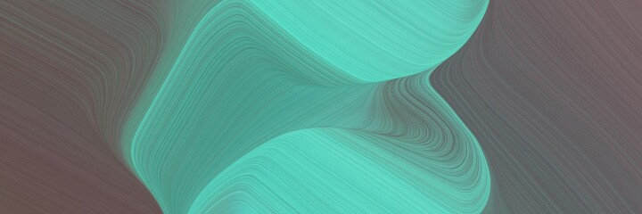Papiers peints Vert corail abstract modern header with dim gray, medium aqua marine and blue chill colors. fluid curved flowing waves and curves for poster or canvas