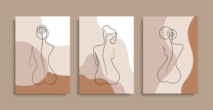 Naked woman sitting back one line. Vector isolated poster covers. Minimal woman body. One line drawing style. Stock vector.