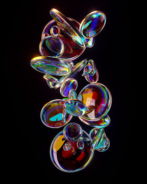 Stream of iridescent disc-shaped bubbles