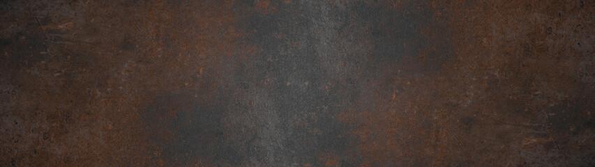 Grunge rusty dark metal background texture banner panorama