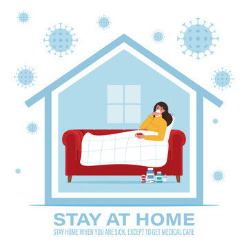 Coronavirus concept. Stay at home during the coronavirus epidemic. Stay home when you are sick. Vector illustration in flat style