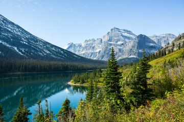 Scenic view of mountain range and Whitefish Lake