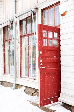 View of open red door