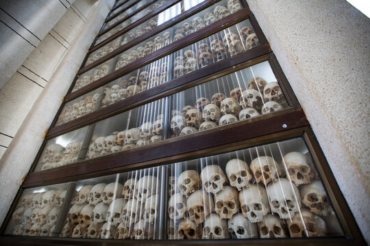 Low angle view of human skulls of victims of massacre