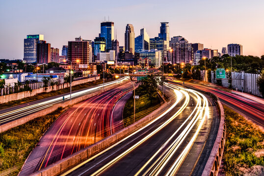 View of Minneapolis skyline during sunrise