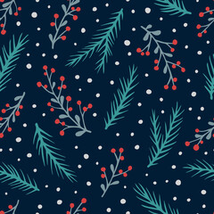 Vector seamless pattern with hand drawn branches with berries, spruce branches and snow. Cute design for Christmas wrappings, textile and backgrounds