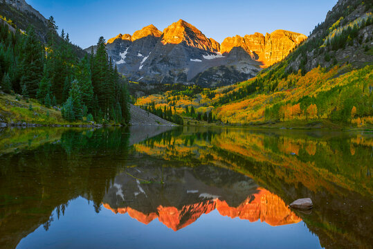 View of Maroon Lake with Maroon Bells in White River National Forest