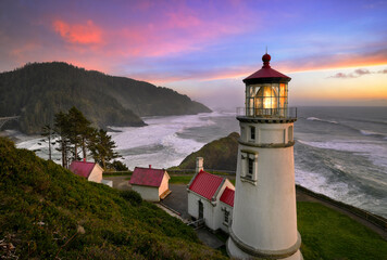 View of Heceta Head Lighthouse during sunset