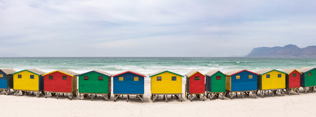 Colorful beach houses on Muizenberg beach