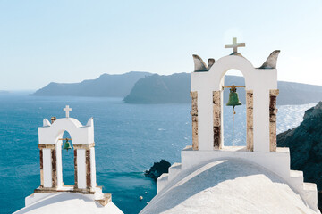 View of church bell towers on island