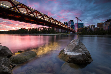 View of The Peace Bridge during sunset