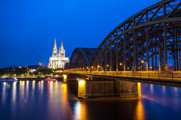 View of Hohenzollern Bridge at night, Cologne, Germany