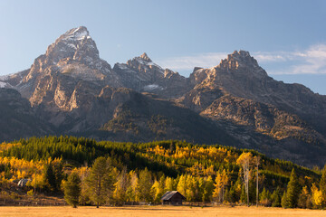 Historic cabin and fall colors beneath Grand Teton in Grand Teton National Park, Wyoming