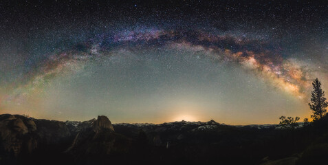 View of milky way over Yosemite National Park