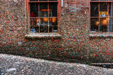View of bubble gum covered wall and window sill