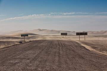 Road signs at Skeleton Coast highway