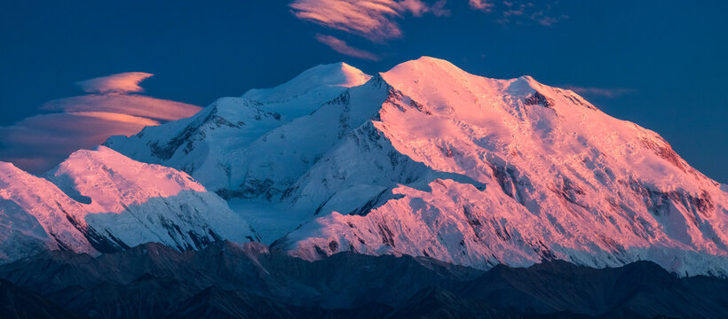 View of snow covered mountain in Denali National Park and Preserve during sunset