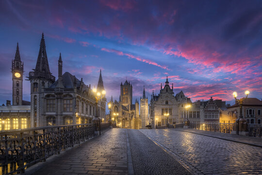 View of Ghent city during sunrise