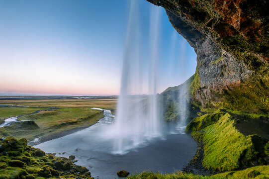 Scenic view of Seljalandsfoss Waterfall at Dawn