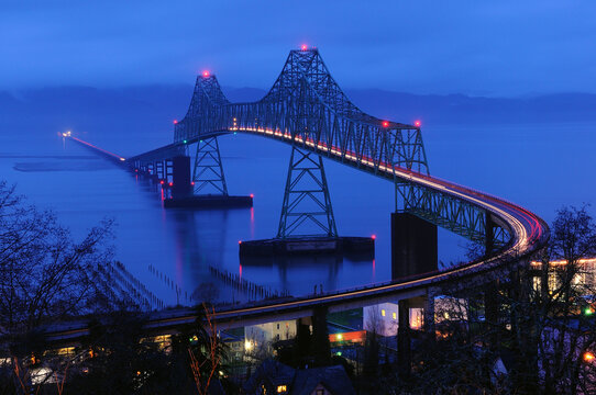 View of Astoria Megler bridge at dawn