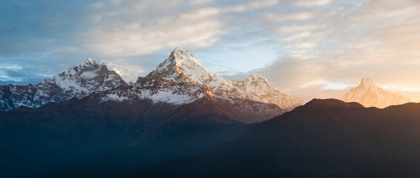 Scenic view of Annapurna Base Camp trek during sunrise
