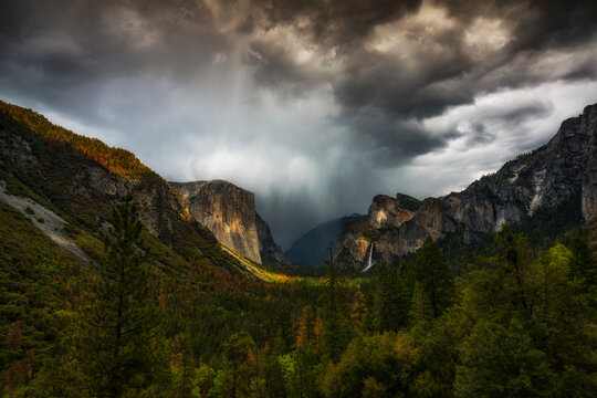 View of stormy clouds over Yosemite National Park
