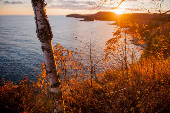 Scenic view of Lake Superior during sunset