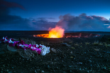 Offering to Pele Halemaumau Crater in Hawaii Volcanoes National Park