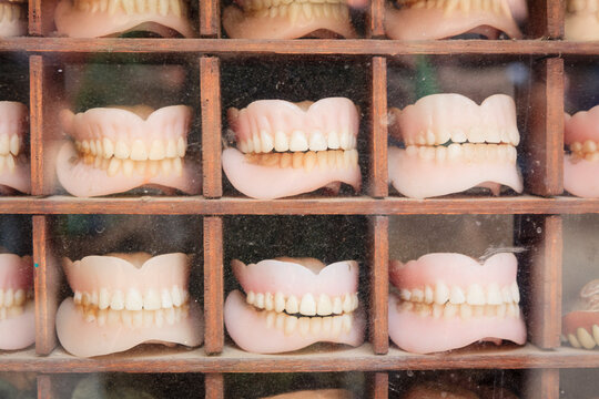 Close up of dentures for sale in dentist's shop