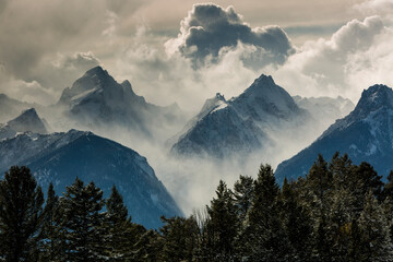 View of snow storm in Grand Teton National Park