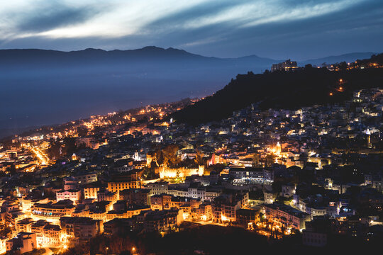 View of Chefchaouen city at dusk