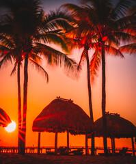 sunset on the tropical beach