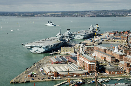 Aircraft carriers, Portsmouth - Aerial View
