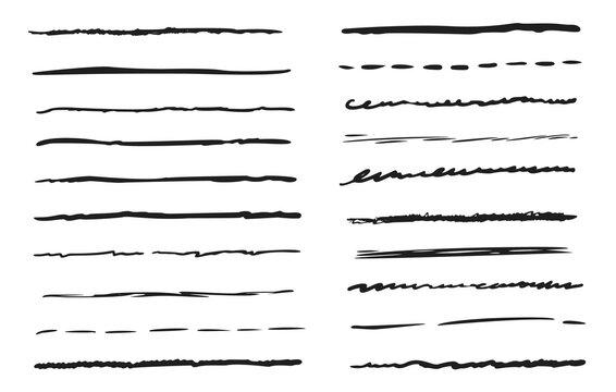 Underline border element. Hand-drawn doodle line icon set. Isolated vintage scribble sketch underline border pen stroke element, pencil grunge decoration. Marker brush grunge style vector illustration