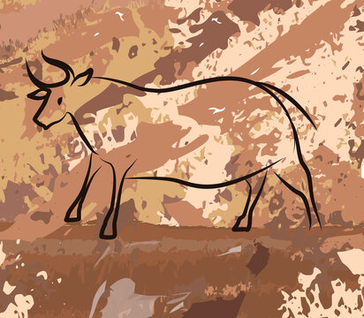 old cave painting of a bull in a cave