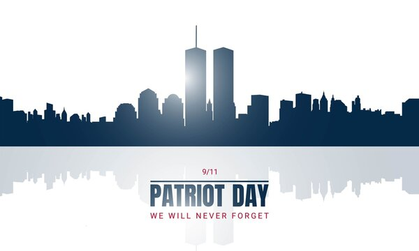 Patriot Day Background with New York City Silhouette.