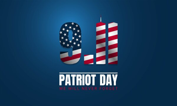 Patriot Day Greeting Card on Blue Background.