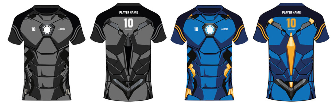 Sports 3D t-shirt jersey design template, mock up uniform kit with front and back view