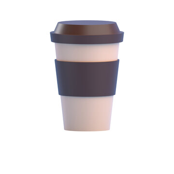 coffee cup isolated on white 3D RENDER