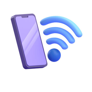 WIFI SIGNAL SMARTPHONE 3D RENDER