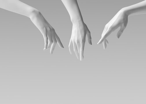 White woman hands 3d showing, reaching from above, pointing and presenting gesture to cosmetic product. 3d rendering