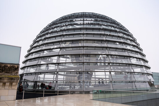 Reichstag dome at cloudy, rainy day. Berlin, Germany
