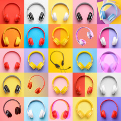 Photo sur Aluminium Montagne Many different headphones on colorful background