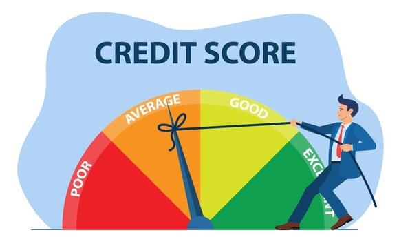 Credit score concept. businessman pulling scale changing credit information from poor to good, excellent. Payment history data meter. Vector illustration in flat style.